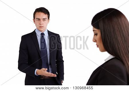 Young Caucasian Business Man Reprimanding Business Woman