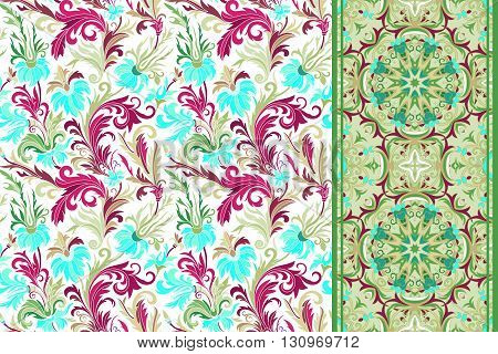 Seamless floral patterns set. Vintage hand drawing flowers backgrounds and borders. Vector ornaments. Sky blue vinous green tone background.