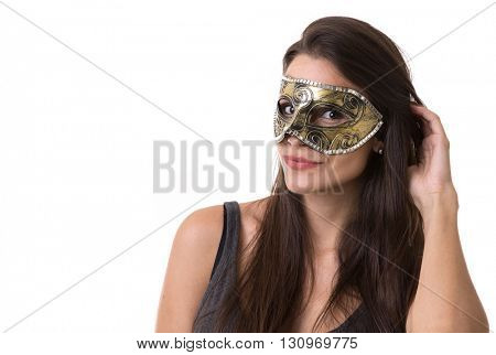 Beautiful young latina woman in carnival mask. Fashion photo