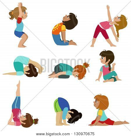 Little Girls Doing Yoga Set Of Bright Color Cartoon Childish Style Flat Vector Drawings Isolated On White Background