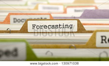 Forecasting Concept on File Label in Multicolor Card Index. Closeup View. Selective Focus. 3D Render.