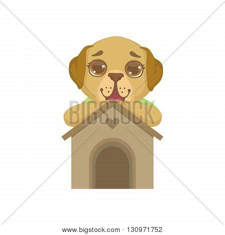 Puppy Standing Behind Kennel Colorful Illustration In Cute Girly Cartoon Style Isolated On White Background