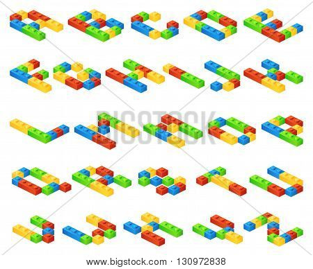 Isometric 3D vector alphabet letters made of plastic cubes constructor. Constructor alphabet, education alphabet english, toy construct alphabet illustration