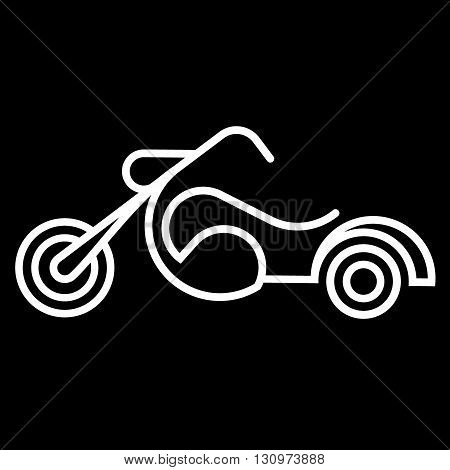Old style motorcycle line art vector icon isolated on a black background.