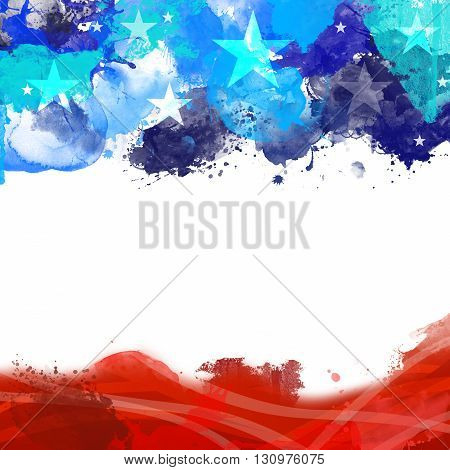 A header footer illustration with United States flag colors on Memorial Day