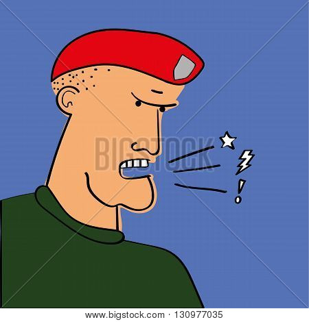 Drill Sergeant or Army Officer in a red beret shouting out orders or expletives