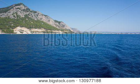 Mediterranean Sea and mountains in Antalya, Turkey