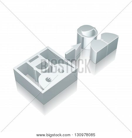 Law icon: 3d metallic Criminal Freed with reflection on White background, EPS 10 vector illustration.