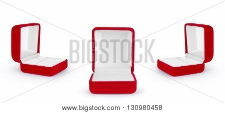 red velvet box for the ring isolated over the white background set