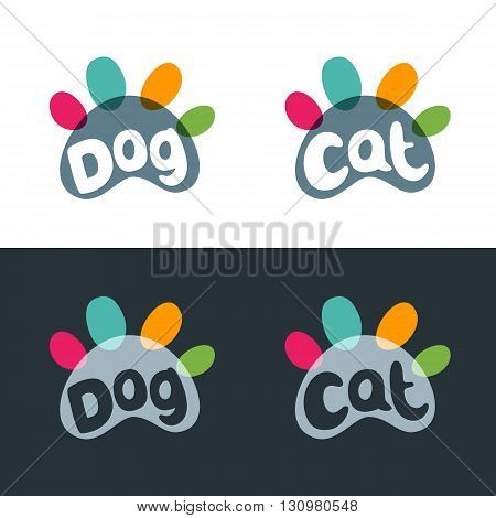 Vector logo emblem label design elements for pet shop zoo shop pets care and goods for animals. Hand drawn lettering in paw shape. Cat and dog multicolor paws. Pet store signboard concept.