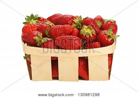 Strawberry In Wooden Basket Isolated On White