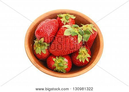 Strawberry In Ceramic Bowl Isolated On White