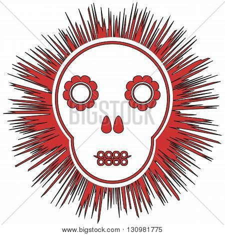 Print. Funny schematic skull with abstract flowers on a black background. Isolated.