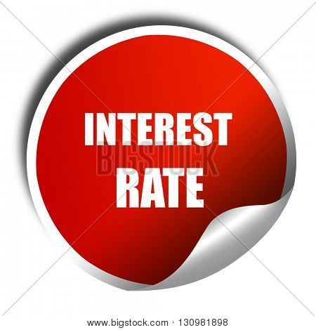 Roadsign of higher interest rates ahead against blue sky, 3D ren poster