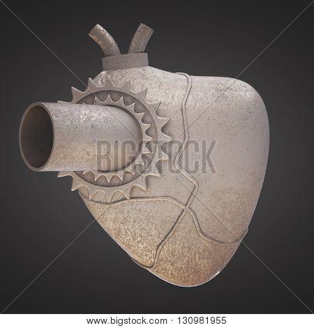 Old iron heart on dark background. 3D Rendering