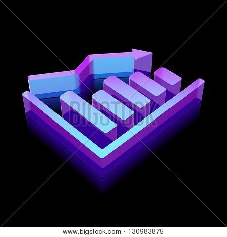 News icon: 3d neon glowing Decline Graph made of glass with reflection on Black background, EPS 10 vector illustration.