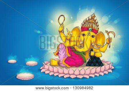 Digital painting illustration  Ganesh god of kindliness