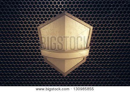 Blank golden shield on patterned background. Mock up 3D Rendering poster
