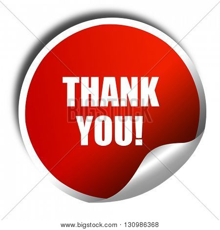 thank you, 3D rendering, red sticker with white text