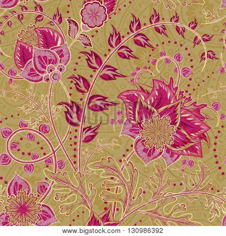 Seamless floral background. Fantasy flowers and paisley mix. Vinous red pink flowers and leafs on golden tone background. Vector illustration.