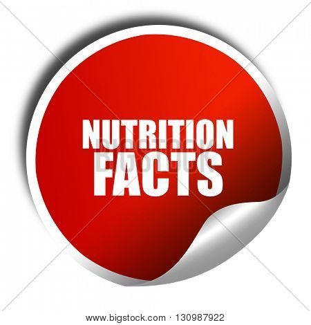nutrition facts, 3D rendering, red sticker with white text