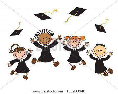 vector illustration of happy graduates with mortarboard vector
