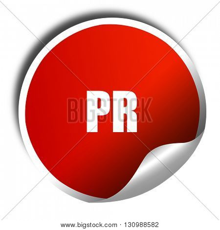 pr, 3D rendering, red sticker with white text