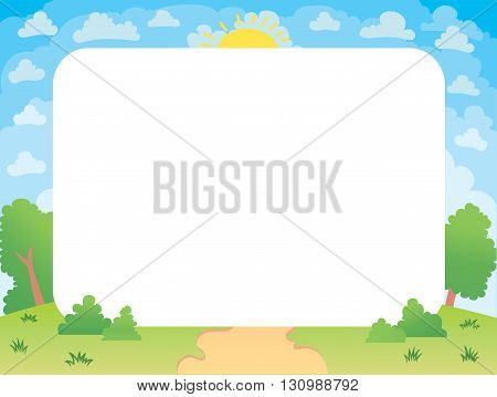 Vector illustration of a beautiful summer landscape lawn vector banner of the forest glade