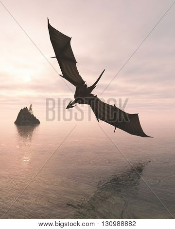 Fantasy illustration of a dragon flying low over a calm ocean in pink evening light, 3d digitally rendered illustration (3d rendering, 3d illustration)