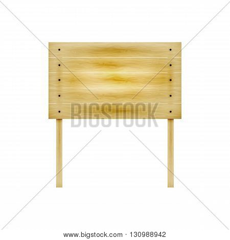 Vector illustration of a wooden board on two legs for the ad. Isolated white background. Wooden billboard. Notice board.
