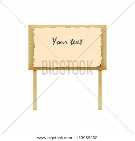 Vector illustration of wooden billboard. Isolated white background. A wooden plaque with the inscription. Notice board.