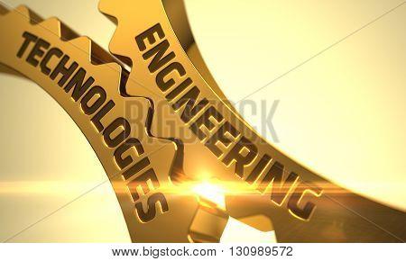 Engineering Technologies on Golden Cogwheels. Engineering Technologies on Mechanism of Golden Metallic Cogwheels with Glow Effect. Golden Cog Gears with Engineering Technologies Concept. 3D Render.