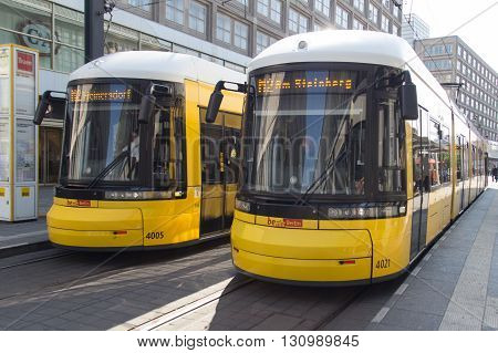 Berlin Germany - may 13 2016:Two electric Tram trains at Alexanderplatz in Berlin Germany.