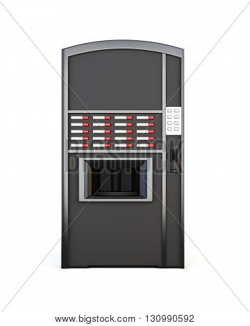 Black vending machine for drinks and snacks on a white background. Front view. 3d rendering.