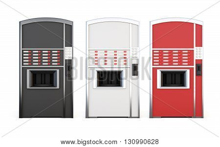 Set of vending machine for drinks and snacks on a white background. 3d rendering.