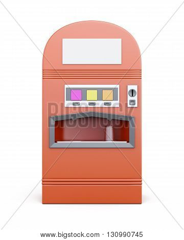 Red vending machine for beverages isolated on white background. Machine for sale soda. Front view. 3d rendering