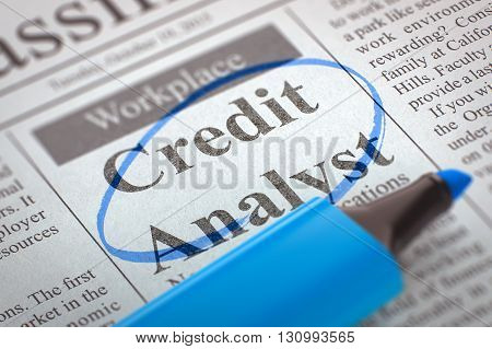 Newspaper with Small Ads of Job Search Credit Analyst. Blurred Image. Selective focus. Job Seeking Concept. 3D Render.