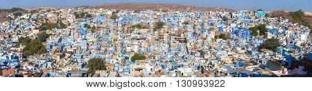 Jodhpur, the Blue City seen from Mehrangarh Fort, Rajasthan, India, Asia. Panorama