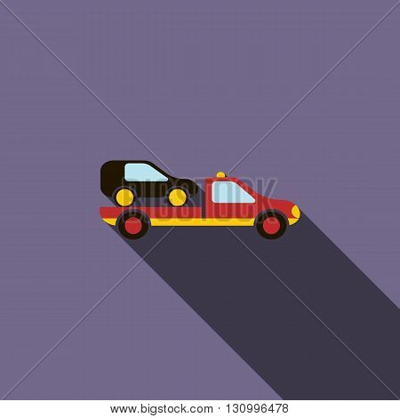 Car evacuator icon in flat style on a violet background