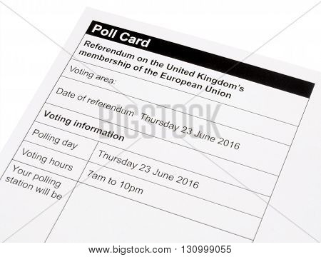 United Kingdom European Union referendum polling card to decide if the UK will stay or leave the EU