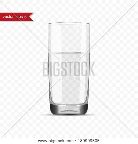 Full glass of water cup with shadow, vector illustration