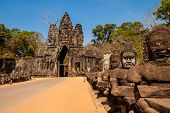 Architecture of old buddhist Angkor Archeological park temple - Bayon in Angkor Thom. Monument of Cambodia - Siem Reap poster