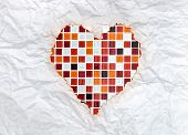 vintage burnt paper in red mosaic heart poster