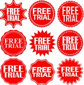 Free trial red label. Free tria red sign. Free tria red banner. Vector illustration poster