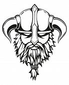 Brutal viking warrior monochrome contours illustration. Viking head with a horned helmet and a beard. Vector illustration. poster