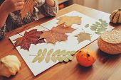 preparations for autumn craft with kids. Herbarium from dried leaves. Learning children at home fall nature collage. poster