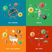Pest control concept with insecticide against ant cockroach mosquito flea tick zika virus protection isolated vector illustration poster