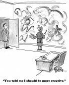 Business cartoon about misunderstanding the boss's feedback. poster