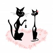 cartoon of a cat couple on romantic date poster