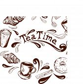 inscription tea time in the center of the frame of the tea cups tea bags donuts croissants sugar stick and splashing in retro style poster